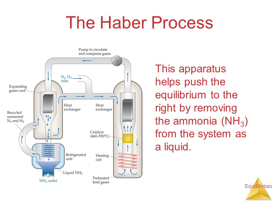 Equilibrium The Haber Process This apparatus helps push the equilibrium to the right by removing the ammonia (NH 3 ) from the system as a liquid.