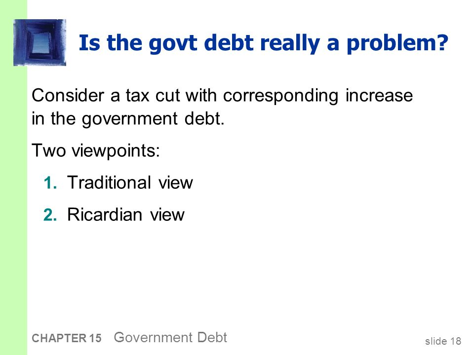 slide 18 CHAPTER 15 Government Debt Is the govt debt really a problem.