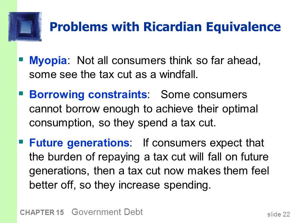slide 22 CHAPTER 15 Government Debt Problems with Ricardian Equivalence  Myopia: Not all consumers think so far ahead, some see the tax cut as a windfall.