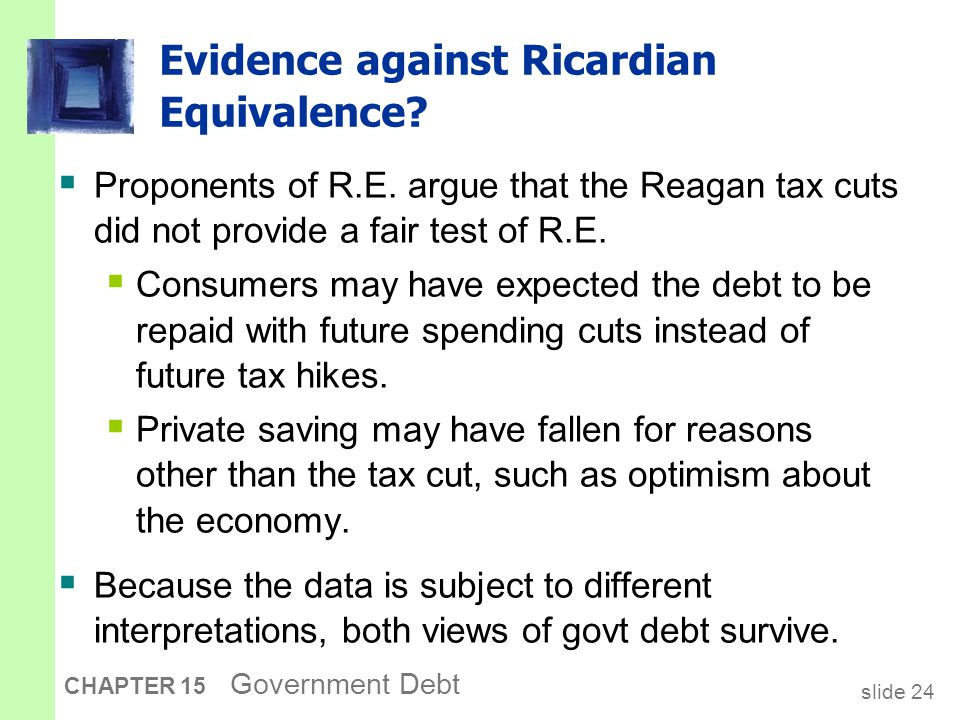 slide 24 CHAPTER 15 Government Debt Evidence against Ricardian Equivalence.
