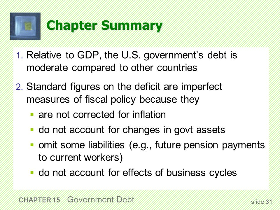 Chapter Summary 1. Relative to GDP, the U.S.