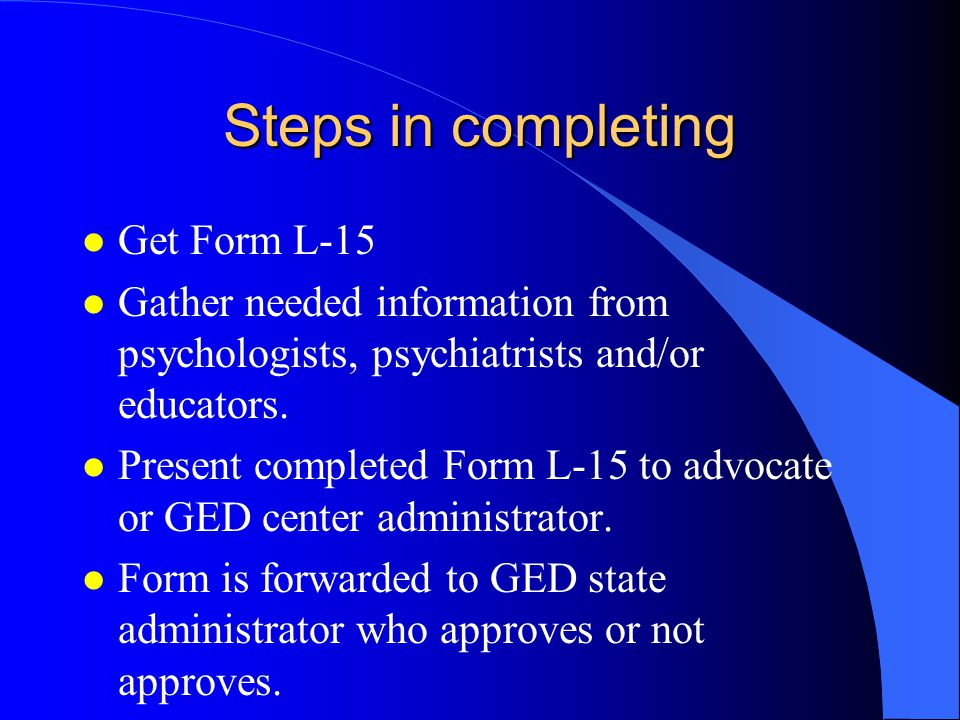Process: Level 1 candidate advocate/teacher/chief administrator psychologist educational specialist state administrator