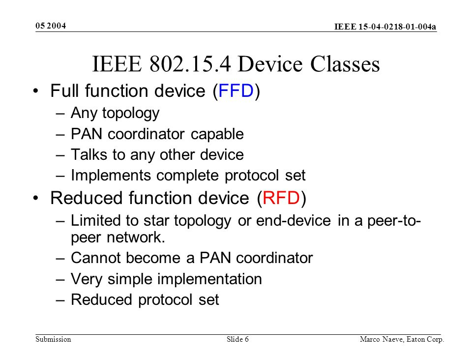 IEEE 15-04-0218-01-004a Submission 05 2004 Marco Naeve, Eaton Corp.Slide 17 Data Frame Format Acknowledgement Frame Format