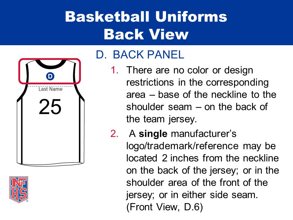 Basketball Uniforms Back View D.BACK PANEL 1.There are no color or design restrictions in the corresponding area – base of the neckline to the shoulder seam – on the back of the team jersey.