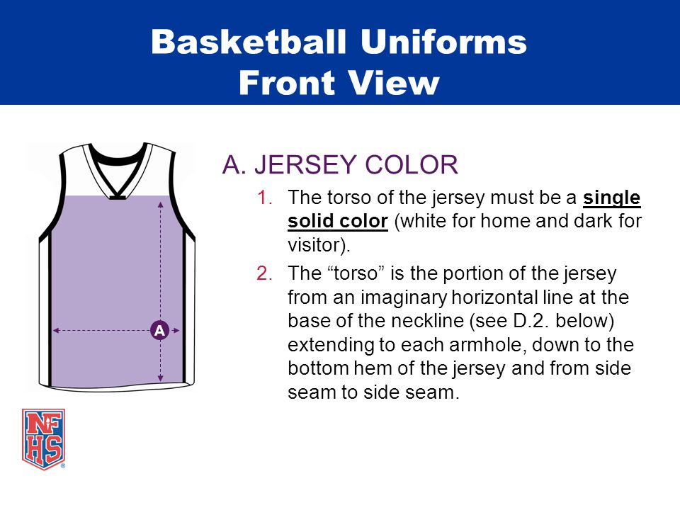Basketball Uniforms Front View A.