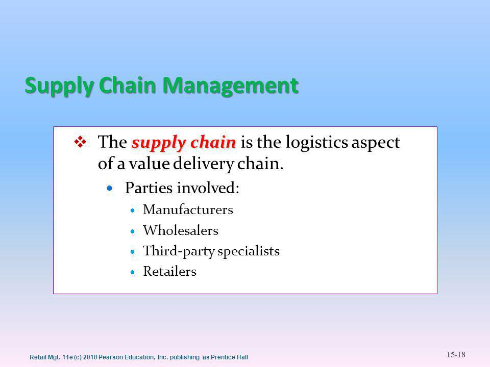 15-18 Retail Mgt. 11e (c) 2010 Pearson Education, Inc. publishing as Prentice Hall Supply Chain Management supply chain  The supply chain is the logi