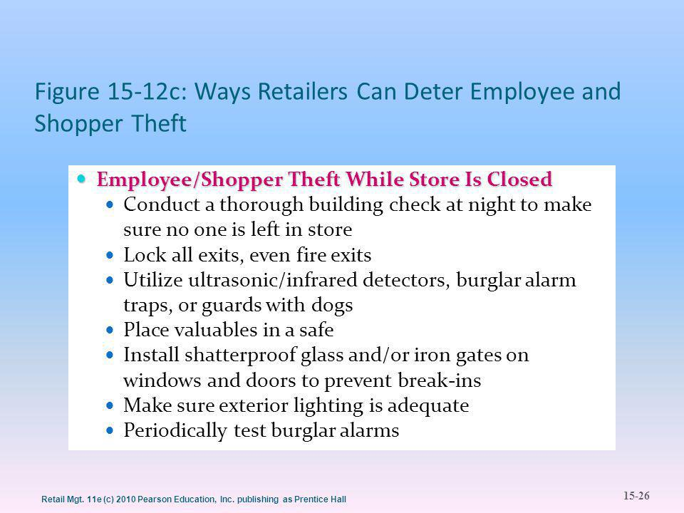 15-26 Retail Mgt. 11e (c) 2010 Pearson Education, Inc. publishing as Prentice Hall Figure 15-12c: Ways Retailers Can Deter Employee and Shopper Theft