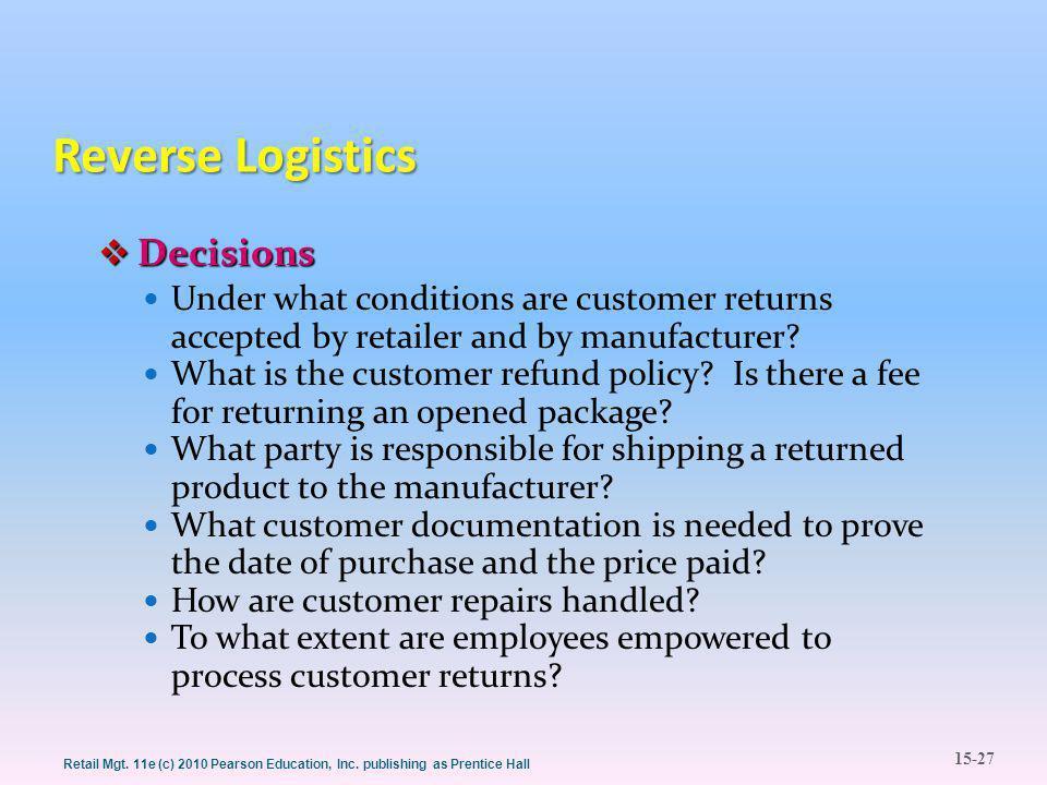 15-27 Retail Mgt. 11e (c) 2010 Pearson Education, Inc.