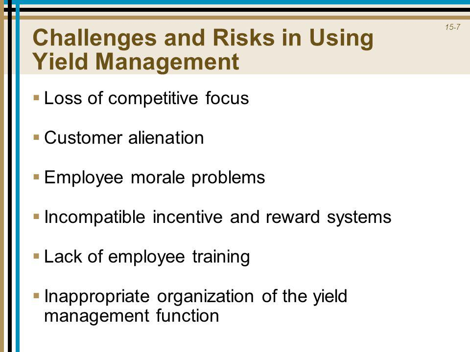 15-7 Challenges and Risks in Using Yield Management  Loss of competitive focus  Customer alienation  Employee morale problems  Incompatible incent