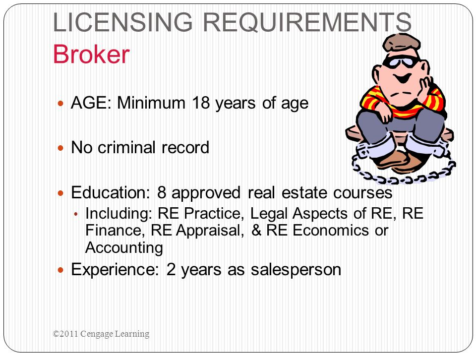 LICENSING REQUIREMENTS Broker AGE: Minimum 18 years of age No criminal record Education: 8 approved real estate courses Including: RE Practice, Legal Aspects of RE, RE Finance, RE Appraisal, & RE Economics or Accounting Experience: 2 years as salesperson ©2011 Cengage Learning