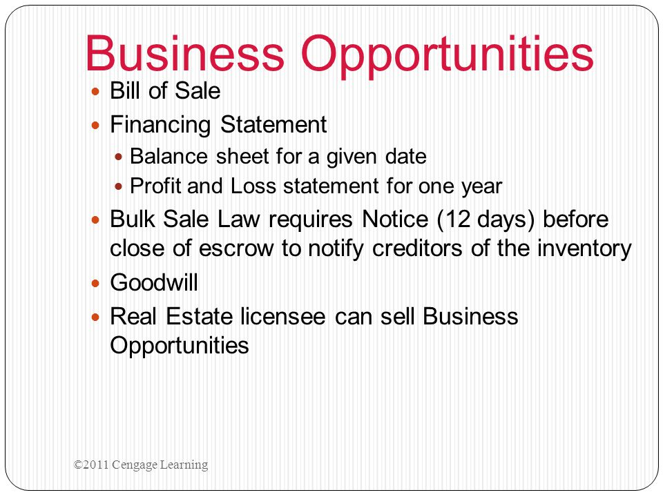 Business Opportunities Bill of Sale Financing Statement Balance sheet for a given date Profit and Loss statement for one year Bulk Sale Law requires N