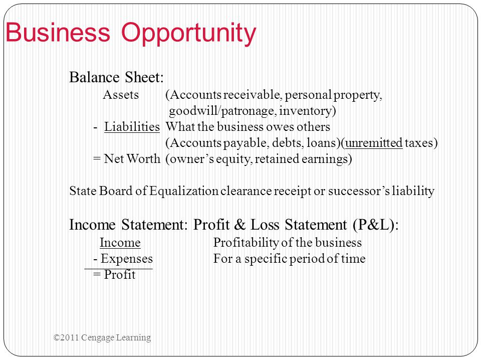 Balance Sheet: Assets (Accounts receivable, personal property, goodwill/patronage, inventory) - Liabilities What the business owes others (Accounts pa