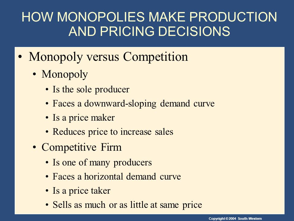 Copyright © 2004 South-Western HOW MONOPOLIES MAKE PRODUCTION AND PRICING DECISIONS Monopoly versus Competition Monopoly Is the sole producer Faces a downward-sloping demand curve Is a price maker Reduces price to increase sales Competitive Firm Is one of many producers Faces a horizontal demand curve Is a price taker Sells as much or as little at same price