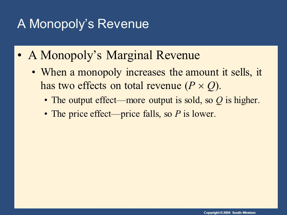 Copyright © 2004 South-Western A Monopoly's Revenue A Monopoly's Marginal Revenue When a monopoly increases the amount it sells, it has two effects on