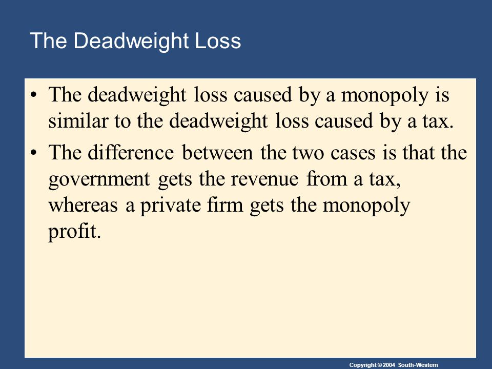 Copyright © 2004 South-Western The Deadweight Loss The deadweight loss caused by a monopoly is similar to the deadweight loss caused by a tax. The dif