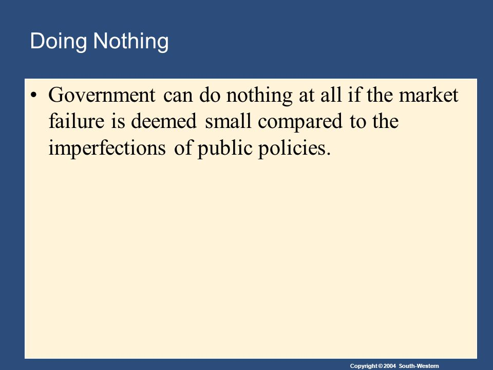 Copyright © 2004 South-Western Doing Nothing Government can do nothing at all if the market failure is deemed small compared to the imperfections of p
