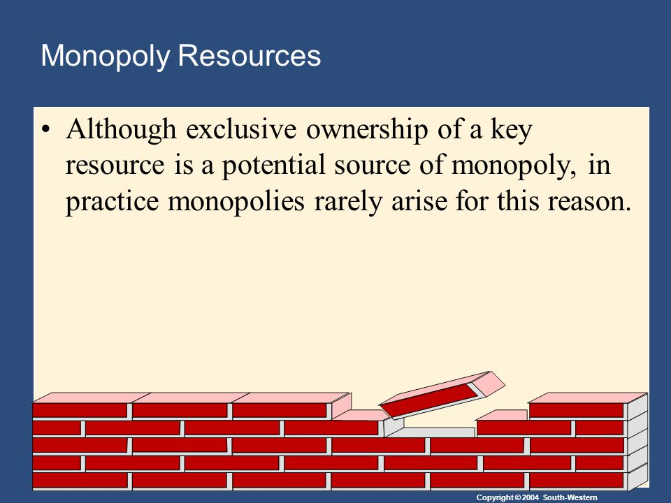 Copyright © 2004 South-Western Monopoly Resources Although exclusive ownership of a key resource is a potential source of monopoly, in practice monopolies rarely arise for this reason.
