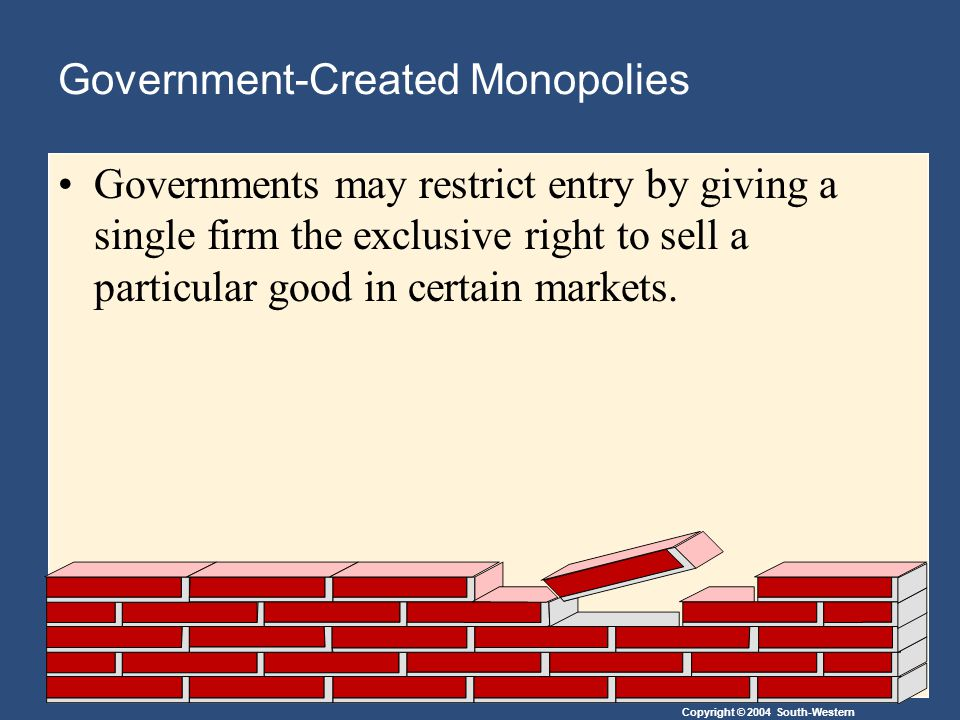 Copyright © 2004 South-Western Government-Created Monopolies Governments may restrict entry by giving a single firm the exclusive right to sell a part