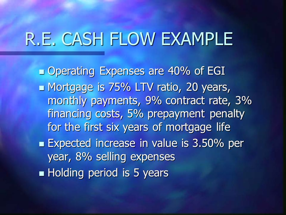 R.E. CASH FLOW EXAMPLE Operating Expenses are 40% of EGI Operating Expenses are 40% of EGI Mortgage is 75% LTV ratio, 20 years, monthly payments, 9% c