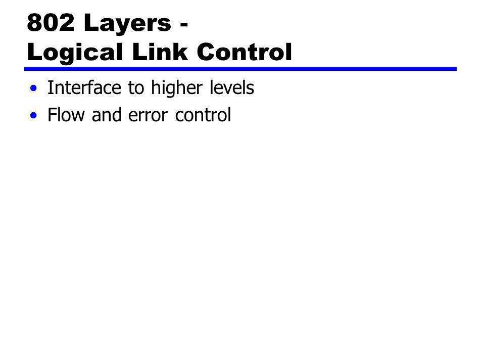 802 Layers - Logical Link Control Interface to higher levels Flow and error control