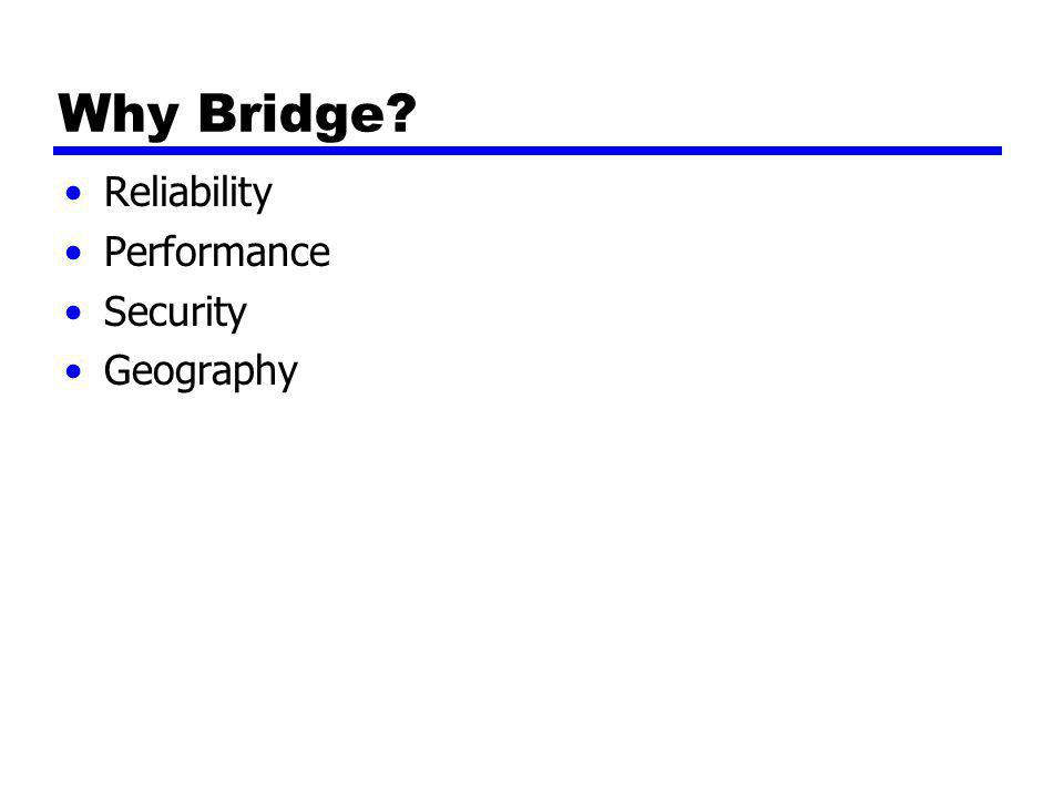 Why Bridge? Reliability Performance Security Geography