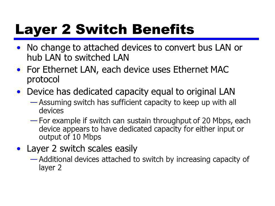 Layer 2 Switch Benefits No change to attached devices to convert bus LAN or hub LAN to switched LAN For Ethernet LAN, each device uses Ethernet MAC pr