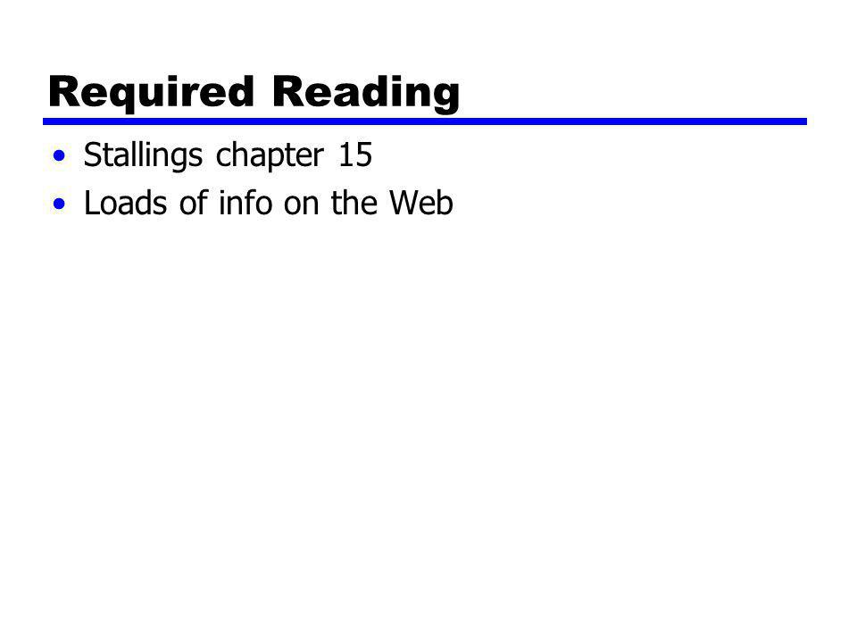 Required Reading Stallings chapter 15 Loads of info on the Web