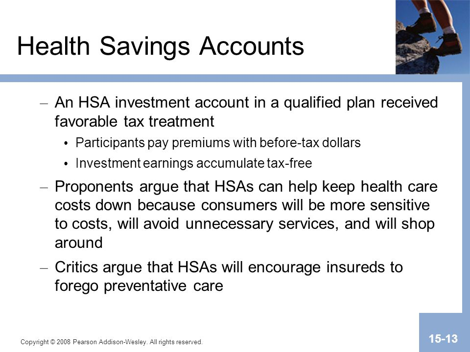 Copyright © 2008 Pearson Addison-Wesley. All rights reserved. 15-13 Health Savings Accounts – An HSA investment account in a qualified plan received f