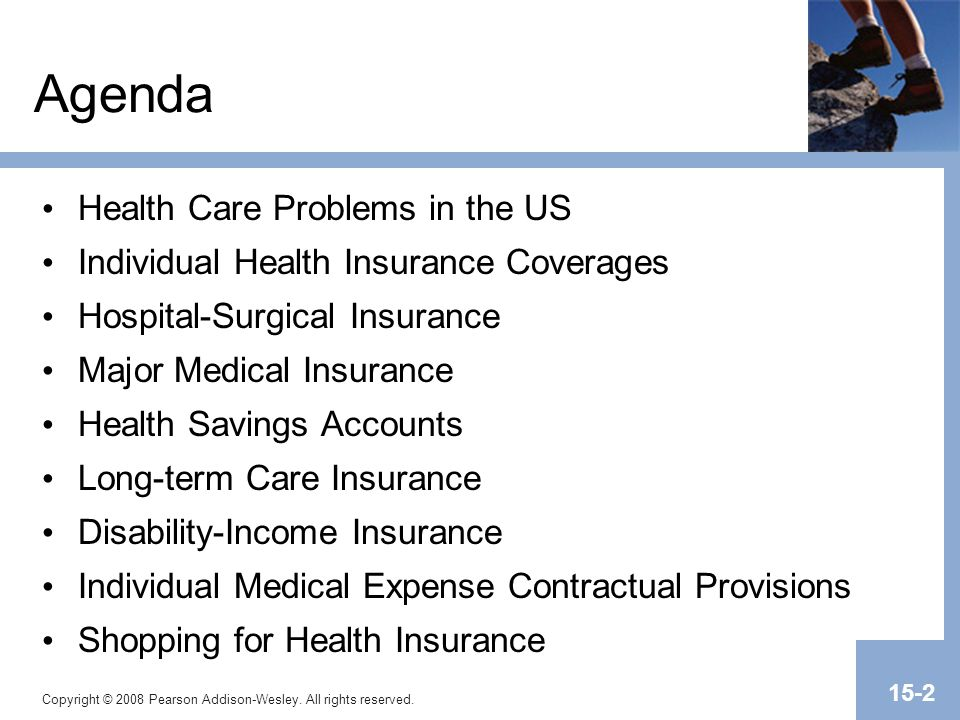 Copyright © 2008 Pearson Addison-Wesley. All rights reserved. 15-2 Agenda Health Care Problems in the US Individual Health Insurance Coverages Hospita