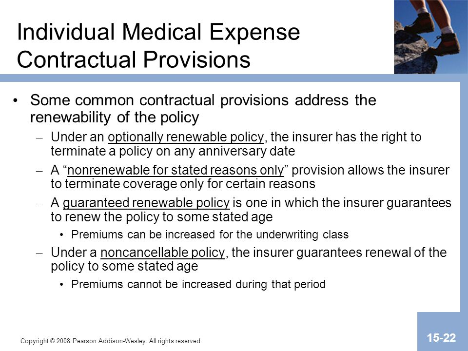 Copyright © 2008 Pearson Addison-Wesley. All rights reserved. 15-22 Individual Medical Expense Contractual Provisions Some common contractual provisio