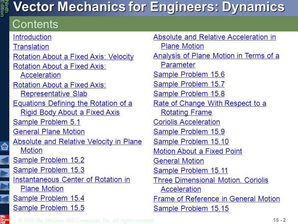 © 2010 The McGraw-Hill Companies, Inc. All rights reserved. Vector Mechanics for Engineers: Dynamics NinthEdition Contents 15 - 2 Introduction Transla