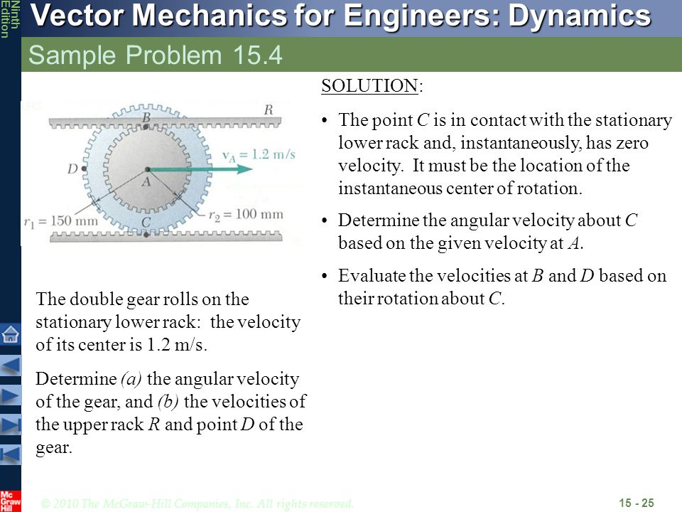 © 2010 The McGraw-Hill Companies, Inc. All rights reserved. Vector Mechanics for Engineers: Dynamics NinthEdition Sample Problem 15.4 15 - 25 The doub