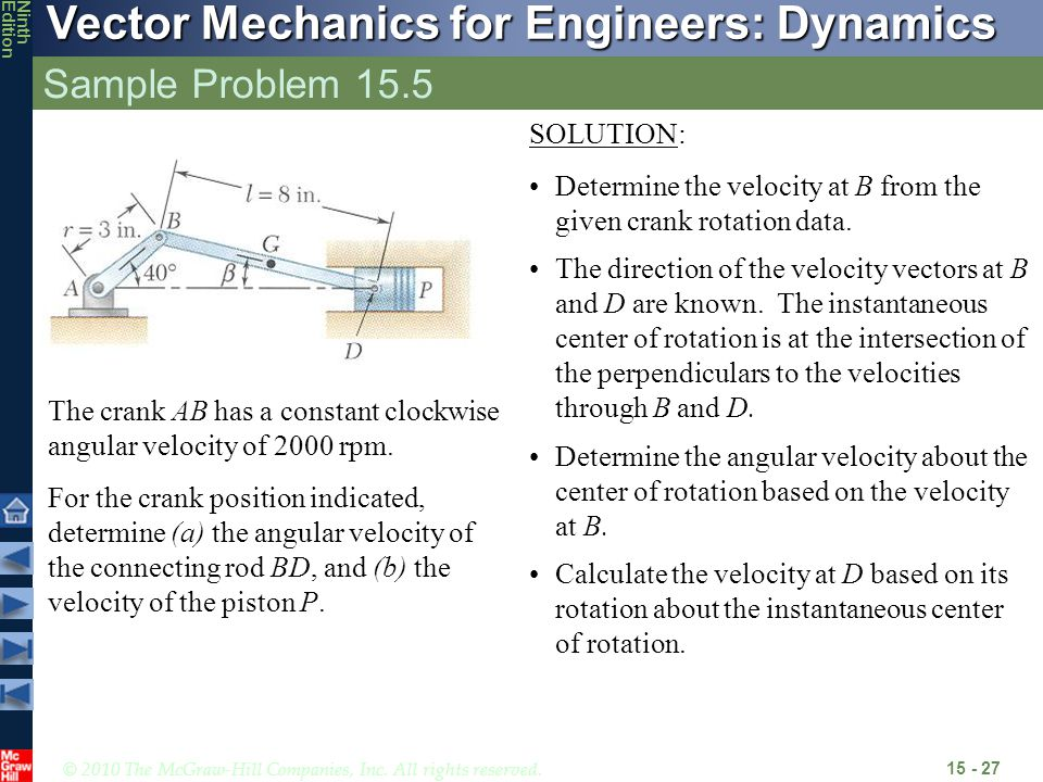 © 2010 The McGraw-Hill Companies, Inc. All rights reserved. Vector Mechanics for Engineers: Dynamics NinthEdition Sample Problem 15.5 15 - 27 The cran
