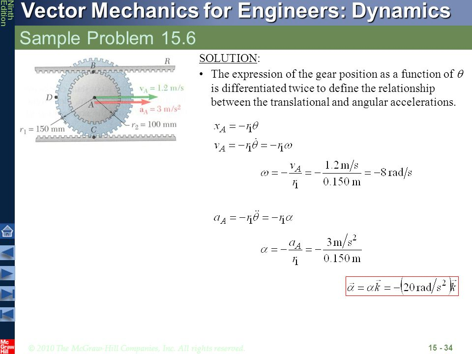 © 2010 The McGraw-Hill Companies, Inc. All rights reserved. Vector Mechanics for Engineers: Dynamics NinthEdition Sample Problem 15.6 15 - 34 SOLUTION