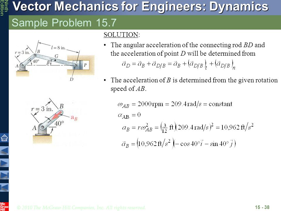© 2010 The McGraw-Hill Companies, Inc. All rights reserved. Vector Mechanics for Engineers: Dynamics NinthEdition Sample Problem 15.7 15 - 38 The acce