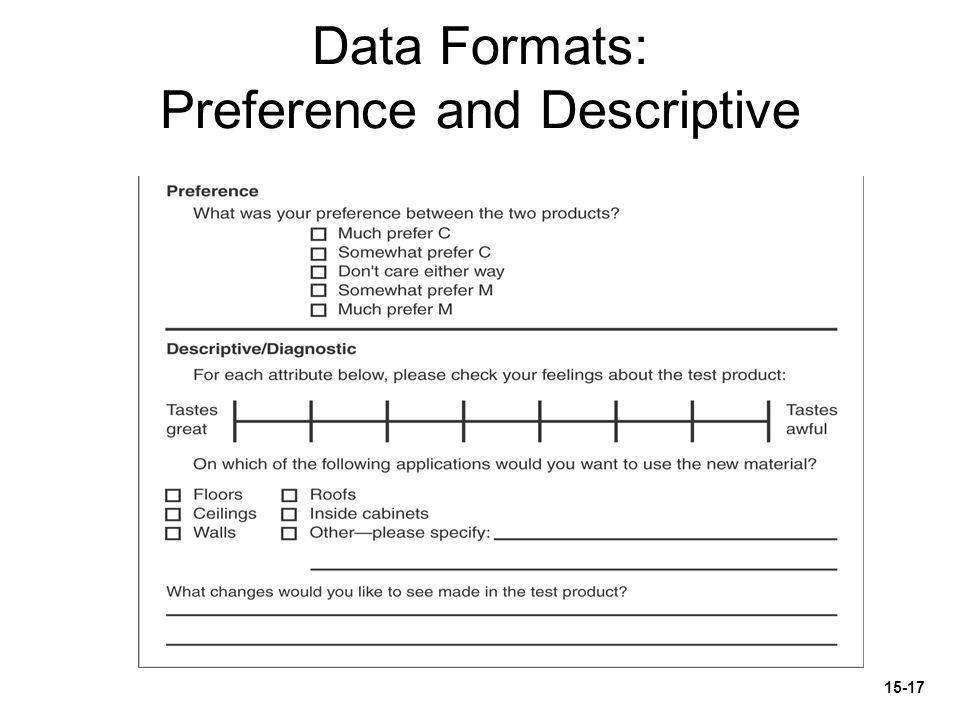 Data Formats: Preference and Descriptive 15-17