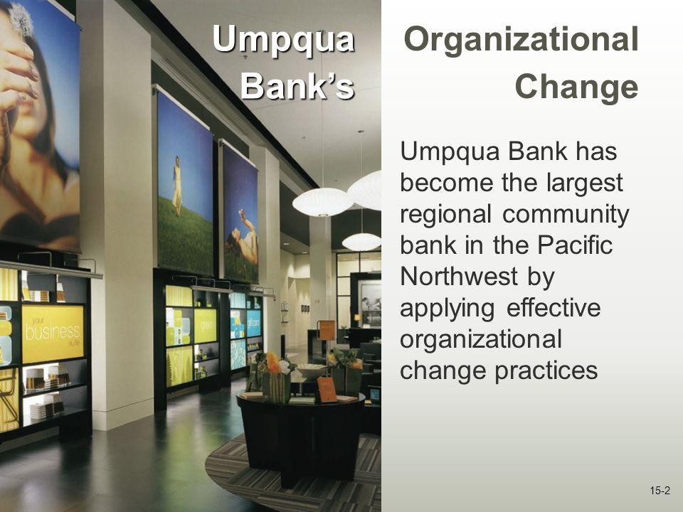 15-2 Umpqua Bank's Umpqua Bank has become the largest regional community bank in the Pacific Northwest by applying effective organizational change pra