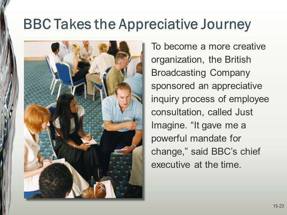 15-23 BBC Takes the Appreciative Journey To become a more creative organization, the British Broadcasting Company sponsored an appreciative inquiry pr