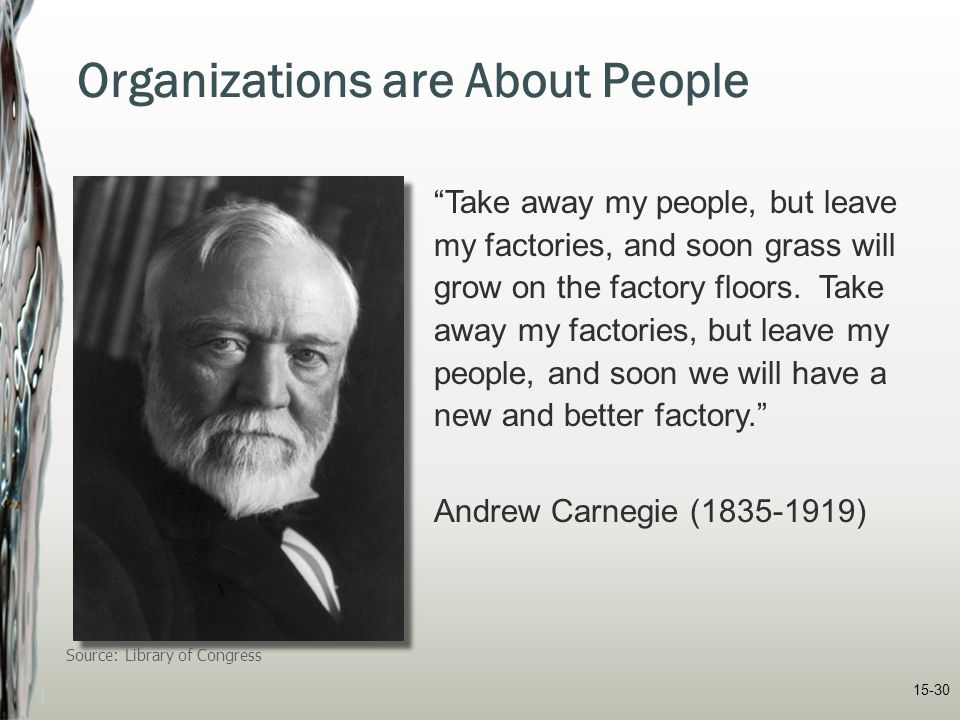 """15-30 Organizations are About People """"Take away my people, but leave my factories, and soon grass will grow on the factory floors. Take away my factor"""