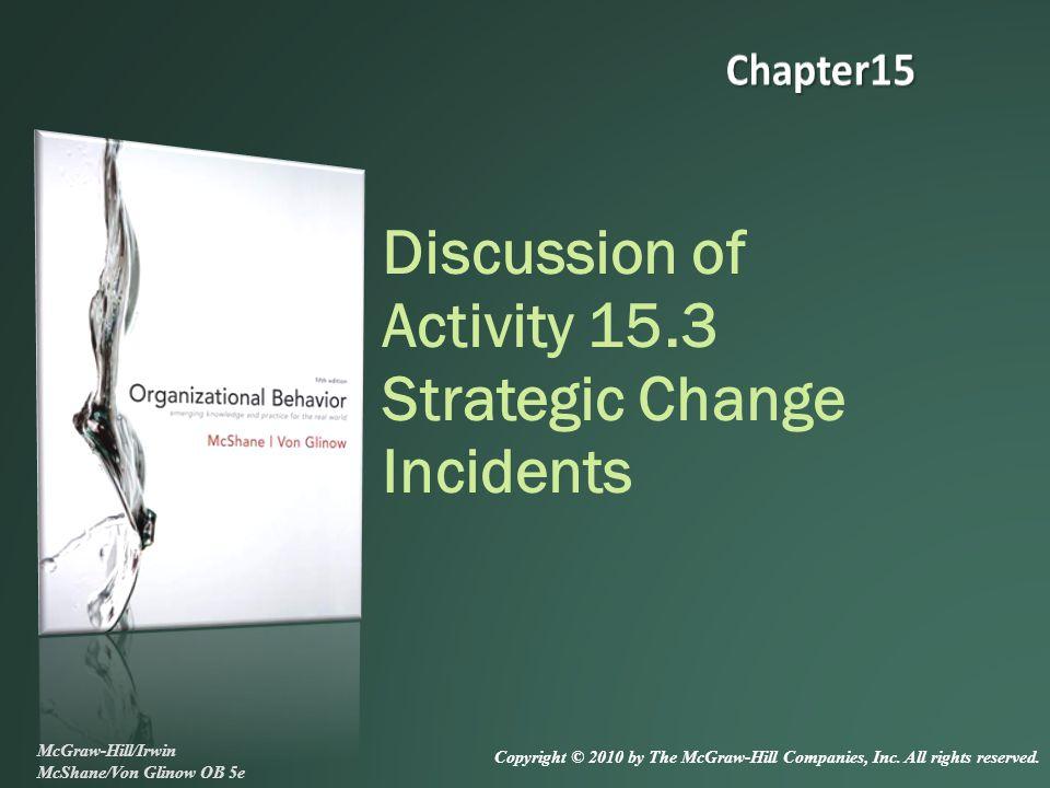 Discussion of Activity 15.3 Strategic Change Incidents McGraw-Hill/Irwin McShane/Von Glinow OB 5e Copyright © 2010 by The McGraw-Hill Companies, Inc.