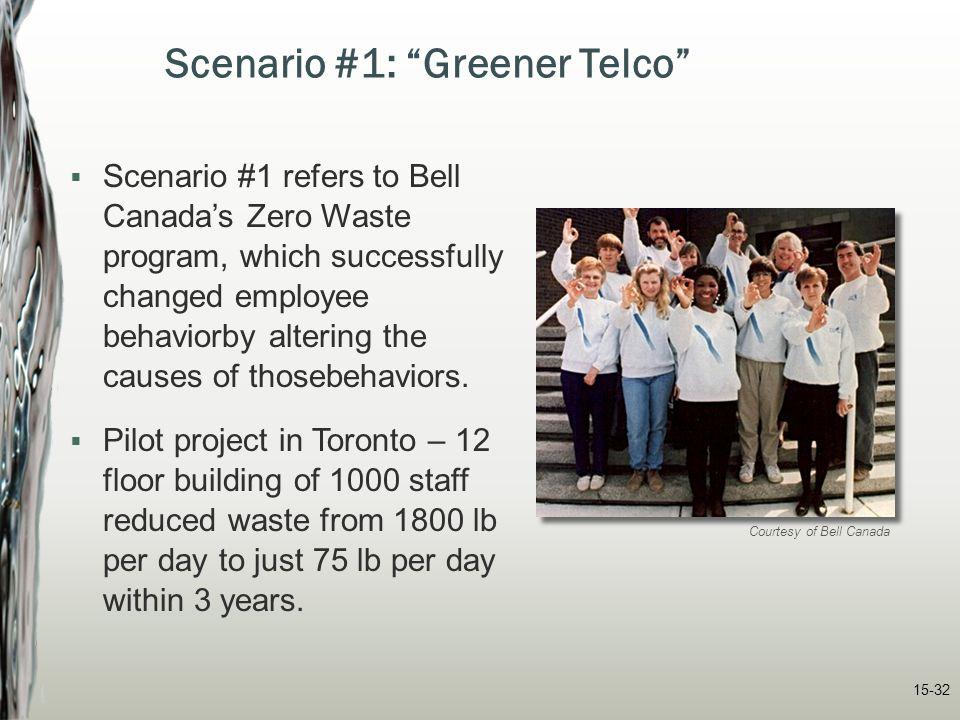 "15-32 Scenario #1: ""Greener Telco""  Scenario #1 refers to Bell Canada's Zero Waste program, which successfully changed employee behaviorby altering t"