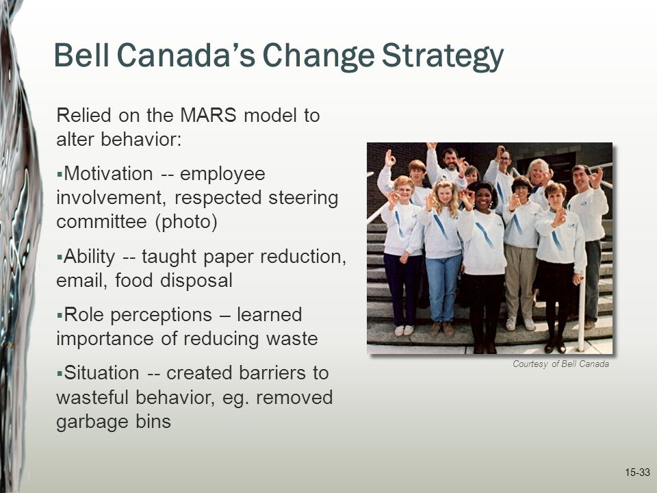 15-33 Bell Canada's Change Strategy Relied on the MARS model to alter behavior:  Motivation -- employee involvement, respected steering committee (ph