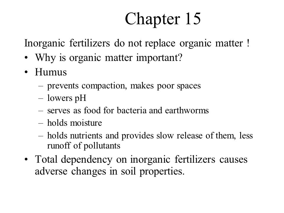 Chapter 15 Inorganic fertilizers do not replace organic matter .