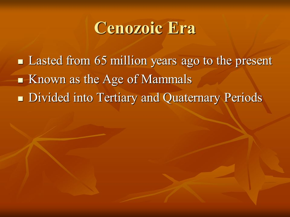 Cenozoic Era Lasted from 65 million years ago to the present Lasted from 65 million years ago to the present Known as the Age of Mammals Known as the Age of Mammals Divided into Tertiary and Quaternary Periods Divided into Tertiary and Quaternary Periods