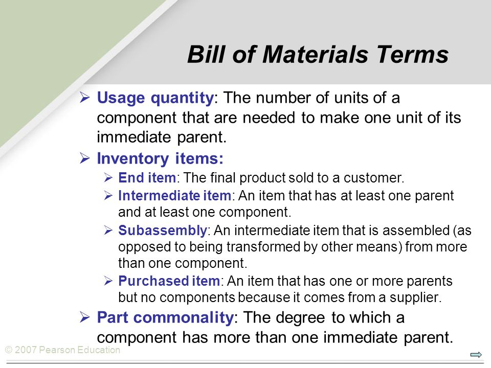 © 2007 Pearson Education Bill of Materials Terms  Usage quantity: The number of units of a component that are needed to make one unit of its immediate parent.