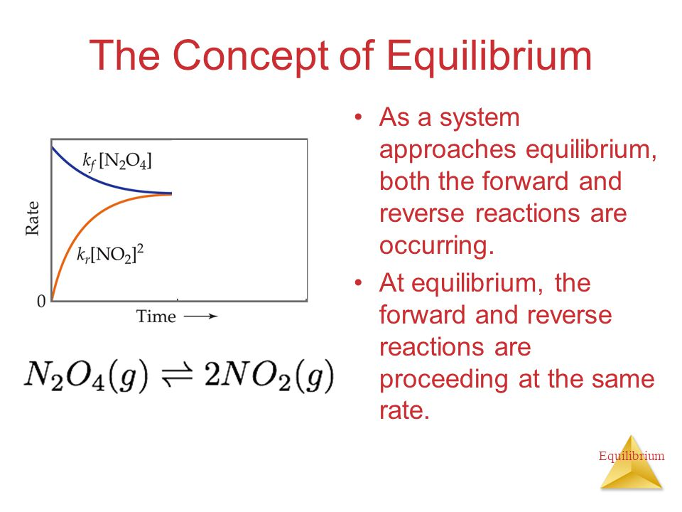 Equilibrium The Concept of Equilibrium As a system approaches equilibrium, both the forward and reverse reactions are occurring. At equilibrium, the f