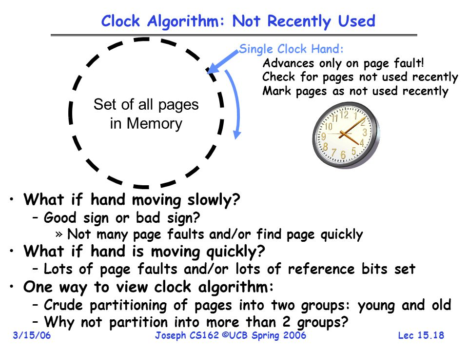 Lec 15.18 3/15/06Joseph CS162 ©UCB Spring 2006 Clock Algorithm: Not Recently Used Set of all pages in Memory Single Clock Hand: Advances only on page