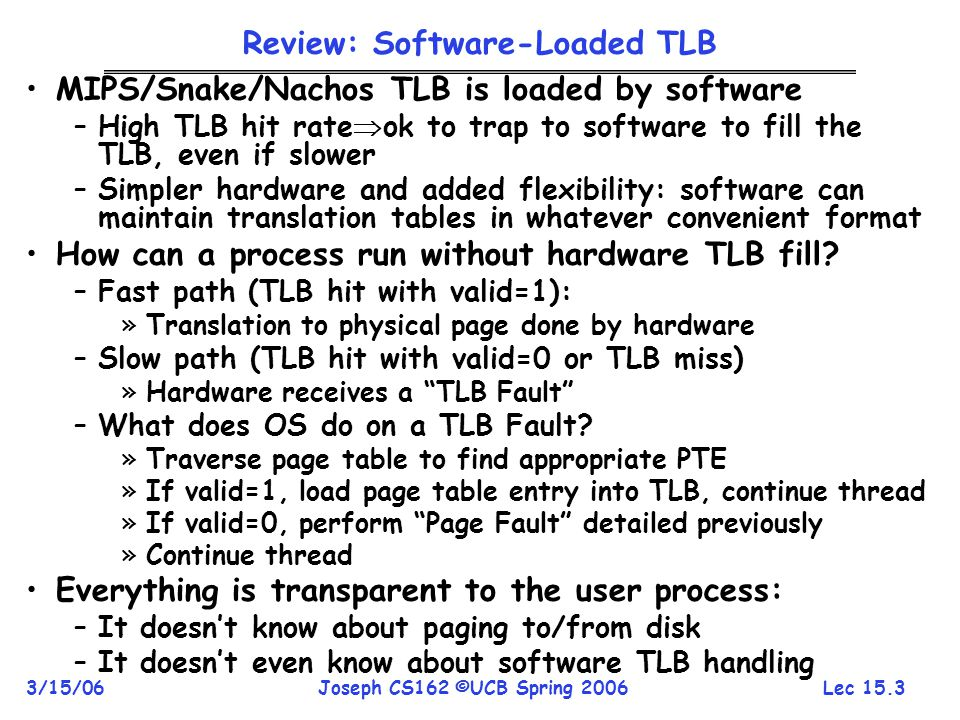 Lec 15.3 3/15/06Joseph CS162 ©UCB Spring 2006 Review: Software-Loaded TLB MIPS/Snake/Nachos TLB is loaded by software –High TLB hit rate  ok to trap