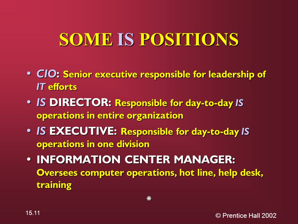 © Prentice Hall 2002 15.11 SOME IS POSITIONS CIO: Senior executive responsible for leadership of IT efforts CIO: Senior executive responsible for leadership of IT efforts IS DIRECTOR: Responsible for day-to-day IS operations in entire organization IS DIRECTOR: Responsible for day-to-day IS operations in entire organization IS EXECUTIVE: Responsible for day-to-day IS operations in one division IS EXECUTIVE: Responsible for day-to-day IS operations in one division INFORMATION CENTER MANAGER: Oversees computer operations, hot line, help desk, training INFORMATION CENTER MANAGER: Oversees computer operations, hot line, help desk, training*