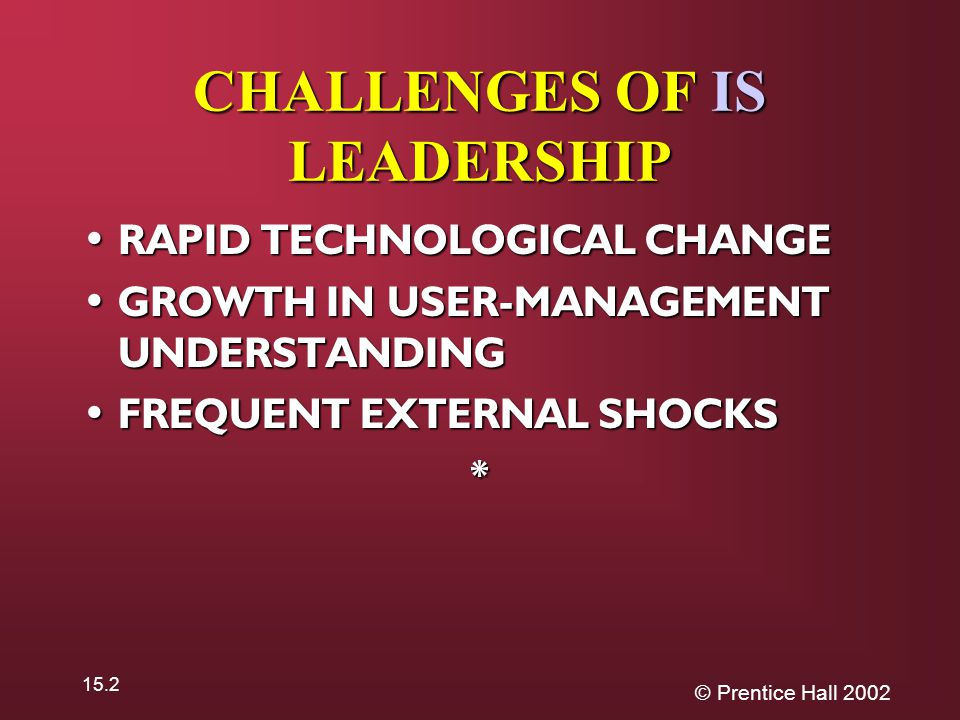 © Prentice Hall 2002 15.2 CHALLENGES OF IS LEADERSHIP RAPID TECHNOLOGICAL CHANGE RAPID TECHNOLOGICAL CHANGE GROWTH IN USER-MANAGEMENT UNDERSTANDING GROWTH IN USER-MANAGEMENT UNDERSTANDING FREQUENT EXTERNAL SHOCKS FREQUENT EXTERNAL SHOCKS*